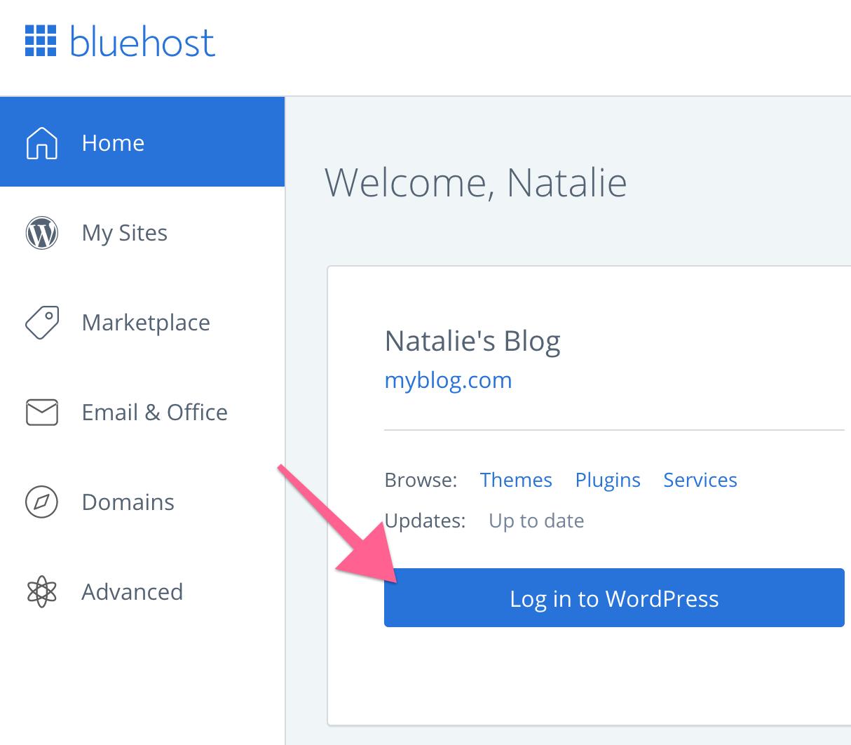 Log in to WordPress via Bluehost