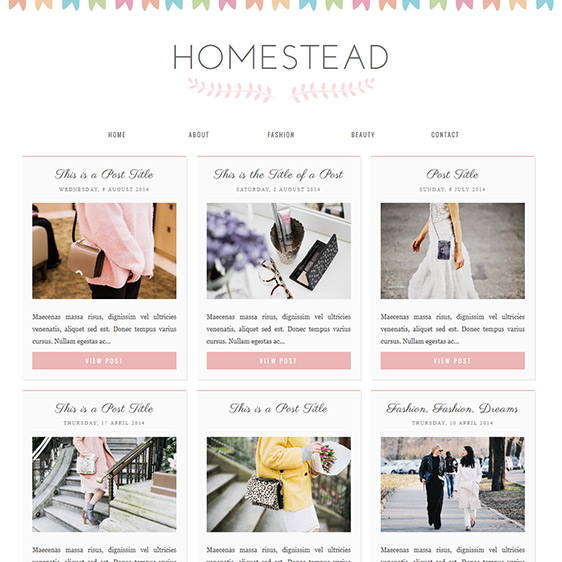 Blogger Template Homestead A Cute Responsive Grid Layout