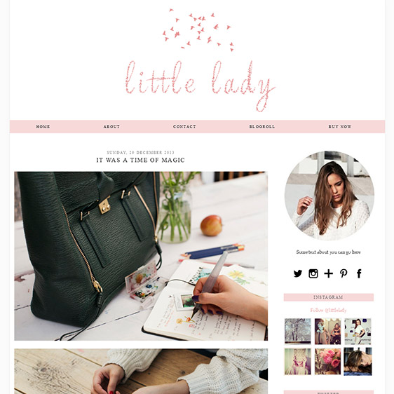 Girly Blogger Template | Soft Pink Colour | Little Lady by