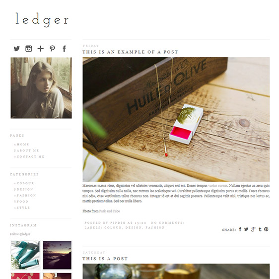 Blogger Template: Ledger