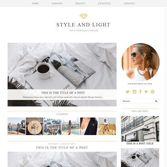 Style light a luxury wordpress theme by pipdig for Create blog page template wordpress