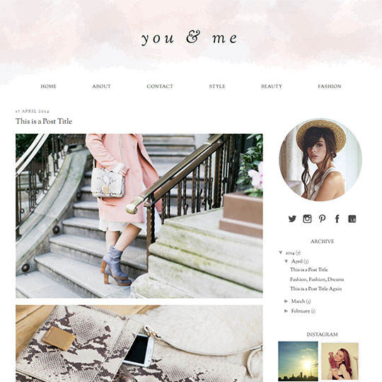 Blogger Template: you & me