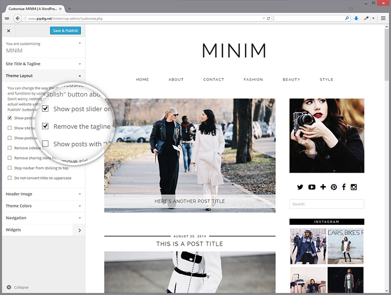 customiser-minim-layout