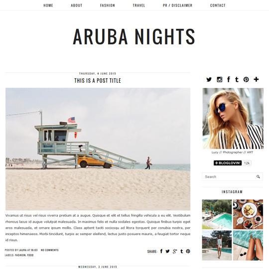 Minimal Blogger Template: Aruba Nights