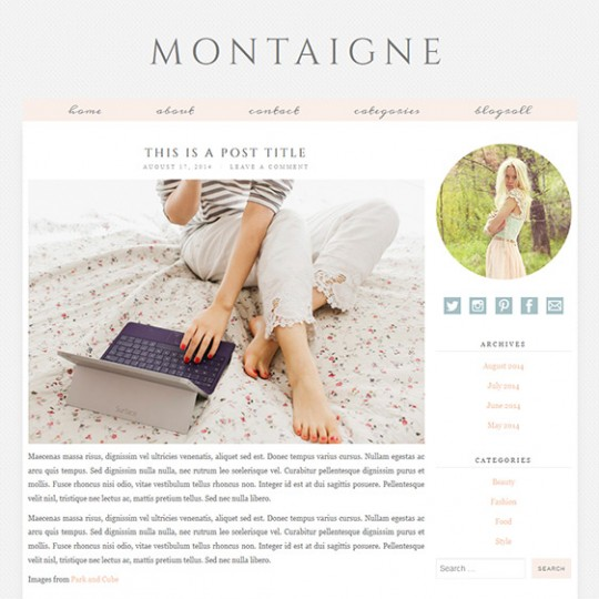 Pastel Colour Wordpress Theme: Montaigne
