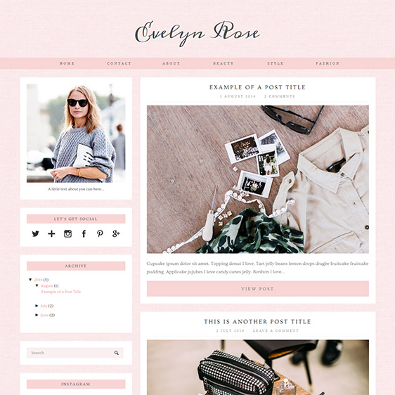 blogger product review template - evelyn rose pastel pink responsive blogger template