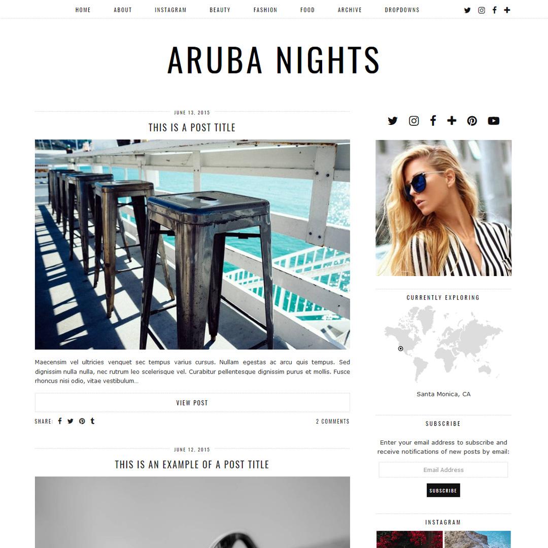 Wordpress: Minimal WordPress Theme: Aruba Nights