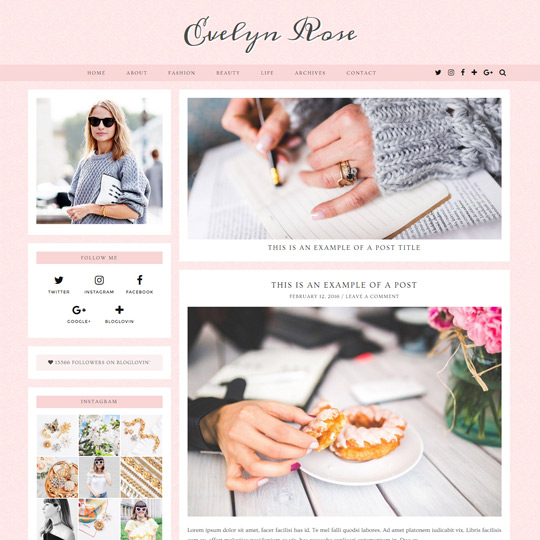 WordPress Theme: Evelyn Rose