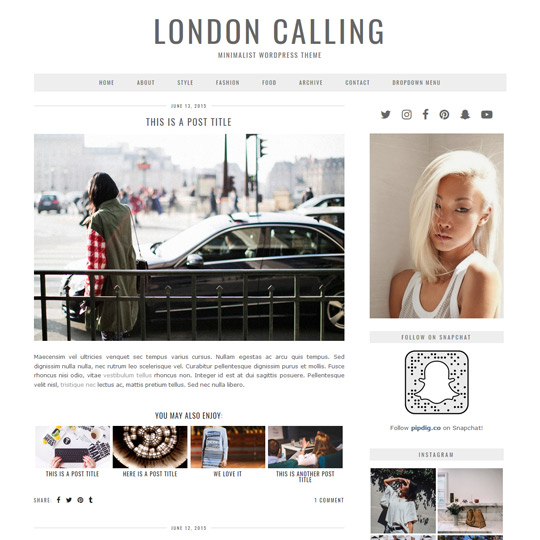 WordPress Theme: London Calling