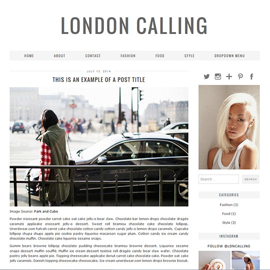 Responsive WordPress Theme: London Calling